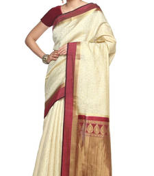 Buy white plain silk saree with blouse wedding-saree online