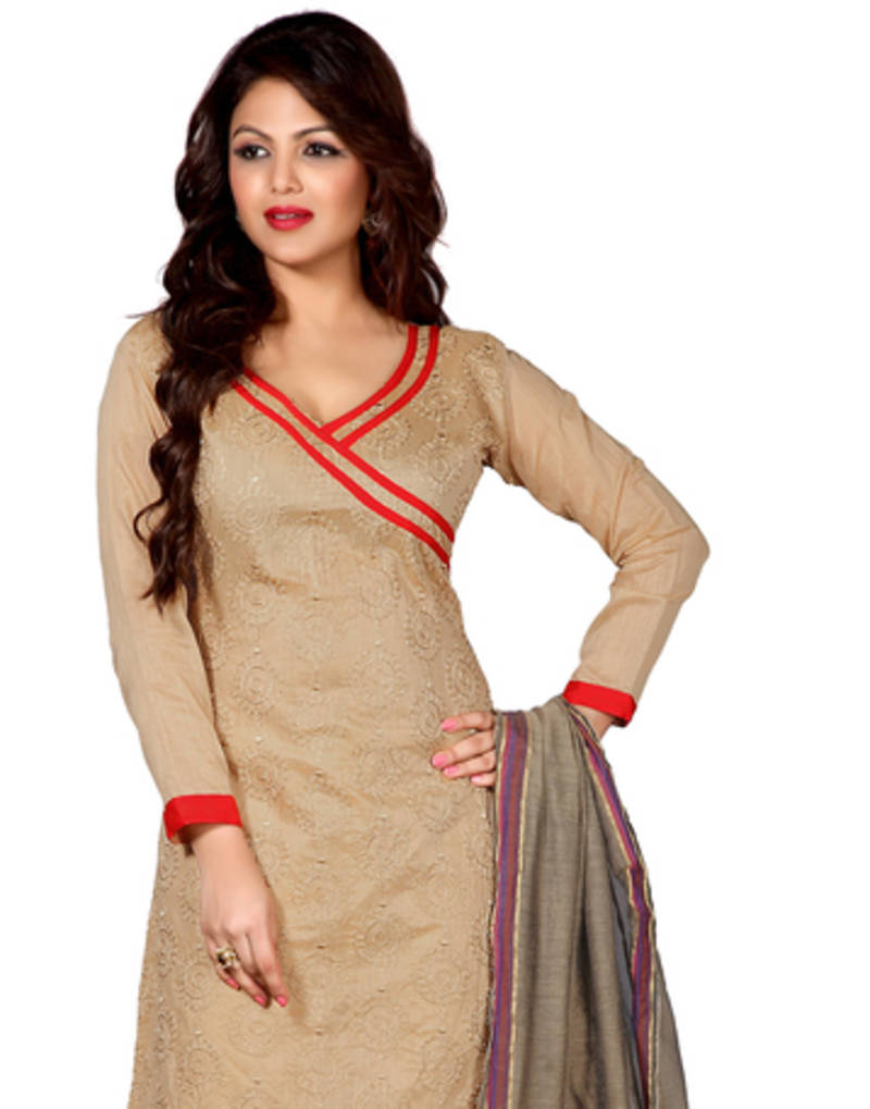 Buy beige embroidered chanderi unstitched dress material