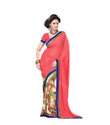 multicolor printed georgette-sarees saree with blouse shop online