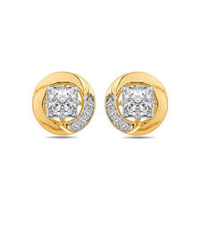 Buy 18K Hallmarked Gold Stud Earrings With Round Swarovski Stone danglers-drop online