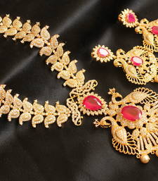 Buy Gorgeous royal designer cz -ruby peacock necklace set necklace-set online