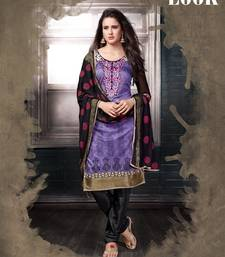 Buy Purple and Black embroidered Chanderi unstitched salwar with dupatta dress-material online