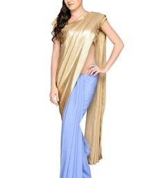 Buy Gold plain crepe saree with blouse crepe-saree online
