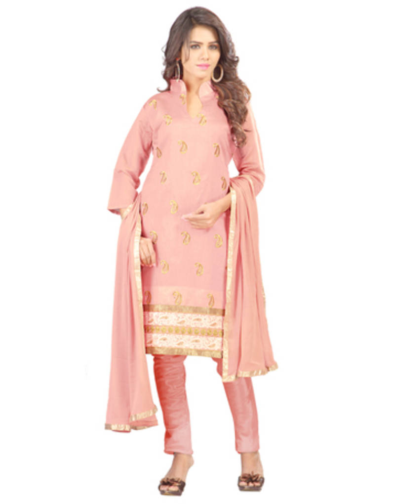 Buy pink embroidered chanderi dress material online