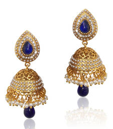Buy Ethnic pearl jhumka earrings with blue stones v801 jhumka online