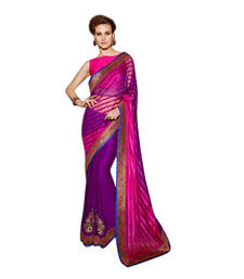 Buy Purple and Pink embroidered satin saree with blouse satin-saree online