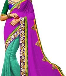 Buy Purple and Turquoise  embroidered georgette saree with blouse half-saree online