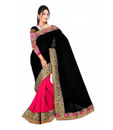 Buy Black  and  Pink embroidered Georgette saree with blouse art-silk-saree online