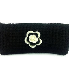 Buy Crochet Clutch with Motif in Black clutch online