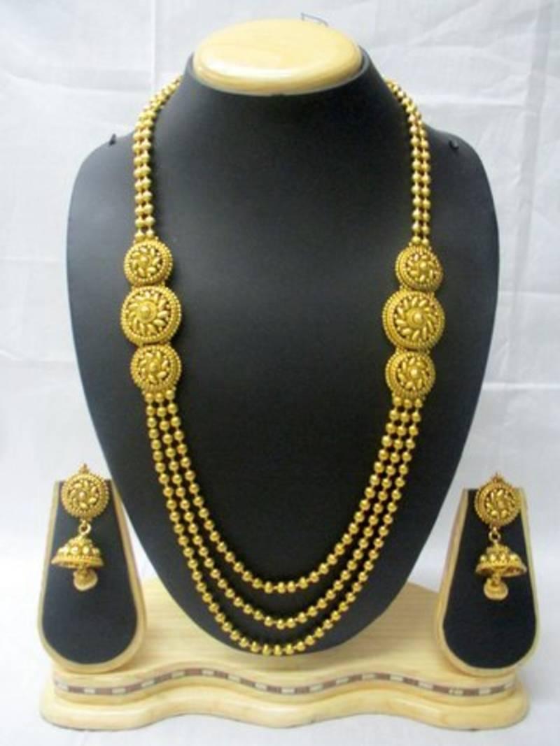 Buy Designer Amp Traditional Golden Mala Set With Golden