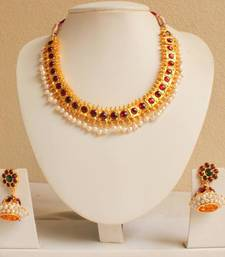 Buy BEAUTIFUL PEARL TEMPLE JEWEL NECKLACE WITH JHUMKKA necklace-set online