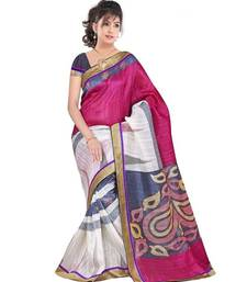 Buy Pink Bhagalpuri silk Casual saree with blouse bhagalpuri-silk-saree online