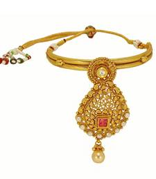 Buy Traditional & Antique Design Gold Plated Bajuband with beautiful Red Stone and White pearl For Bridal Jewellery bajuband online