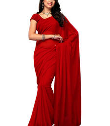 Buy Red hand woven Georgette saree with blouse georgette-saree online