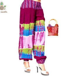 Buy Latest Designer Rayon Silk Tie Diyed Multi Color Harem Legging Salwar Pants With a Free Handbag other-apparel online