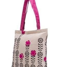 Buy Accrue Tote with black prints and pompom balls tote-bag online