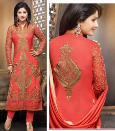 Buy Dark Peach georgette embroidered semi_stitched salwar with dupatta pakistani-salwar-kameez online