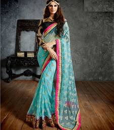 Buy Designer Sky Blue Color Net Saree With Blouse. net-saree online