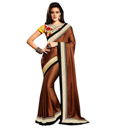 Buy Brown And Yellow embroidered satin saree with blouse satin-saree online