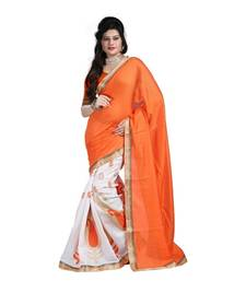Buy Orange embroidered jute cotton saree with blouse art-silk-saree online