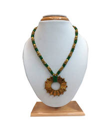 Buy Brass Beaded Dhokra (Tribal) Necklace With Rounded Pendant (Green) Necklace online