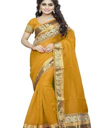 Buy Yellow embroidered cotton saree with blouse bhagalpuri-silk-saree online