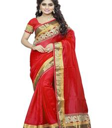 Buy Red embroidered cotton saree with blouse bhagalpuri-silk-saree online
