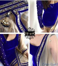 Buy Blue plain Velvet unstitched salwar with dupatta dress-material online
