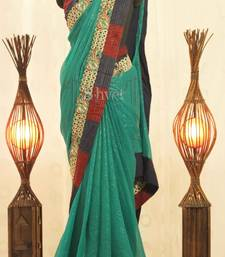 Buy Rama Green with gold Cutwork border Saree georgette-saree online