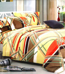 Buy Contemporary Print Multicolor Polyester Double Bedsheet bed-sheet online