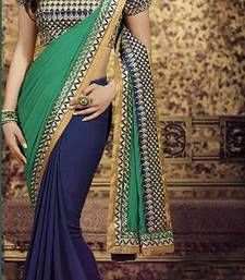 Buy Green  and  Blue Georgette Saree With Dupion Silk Blouse bollywood-saree online