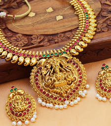 Buy Gorgeous gold plated temple necklace set necklace-set online