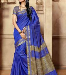 Buy Blue woven cotton_silk saree with blouse banarasi-silk-saree online