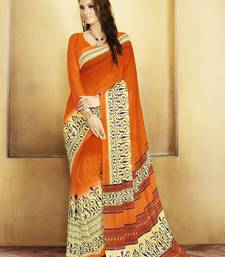 Buy Orange and  Cream Printed Georgette Saree with blouse georgette-saree online