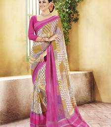 Buy Pink and  Grey Printed Georgette Saree with blouse georgette-saree online