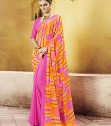 Buy Pink Printed Georgette Saree with blouse georgette-saree online