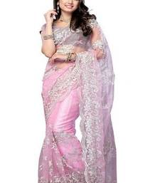 Buy Pink Net saree with blosue net-saree online