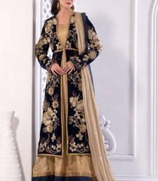 Buy Cream Shimmer And Santoon Heavy Embroidery Semi Stitched Salwar Suit ethnic-suit online