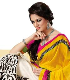 Buy Fabdeal Yellow & White Bhagalpuri Silk Printed Saree With Blouse Piece bhagalpuri-silk-saree online