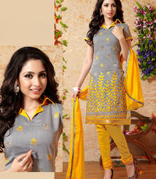 Buy Grey embroidered Chanderi unstitched salwar with dupatta dress-material online