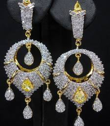 Buy CZ Ear ring with yellow stone danglers-drop online