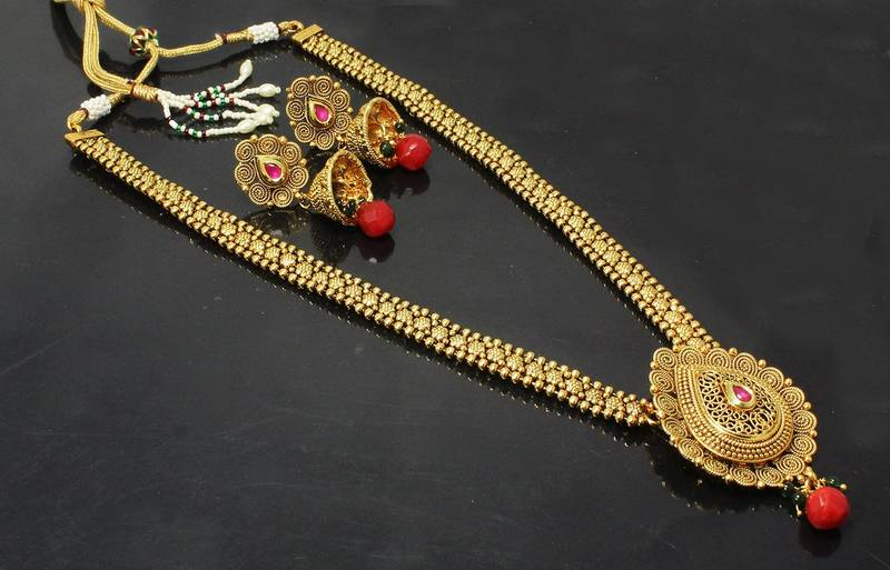 Buy Traditional & Gold Plated Design Bridal Long Necklace ...