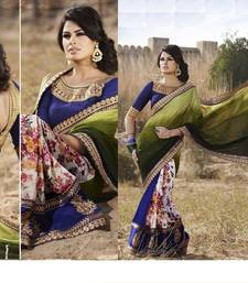 Buy Green and Blue plain georgette saree with blouse printed-saree online
