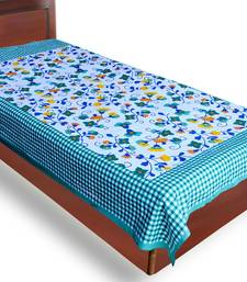 Buy Green Color Check Design Floral Print Pure Cotton Single Bedsheet bed-sheet online