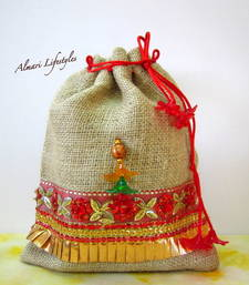 Buy Jute and Red embroidered bag potli-bag online