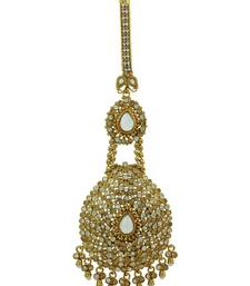 Buy Pear Shaped Chequered Polki Juda in Champagne Color with Golden Polish key-chain online