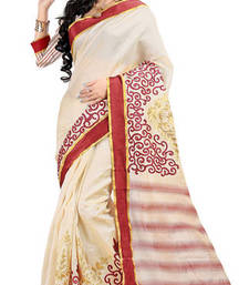 Buy Beige and Red embroidered silk saree with blosue jute-saree online
