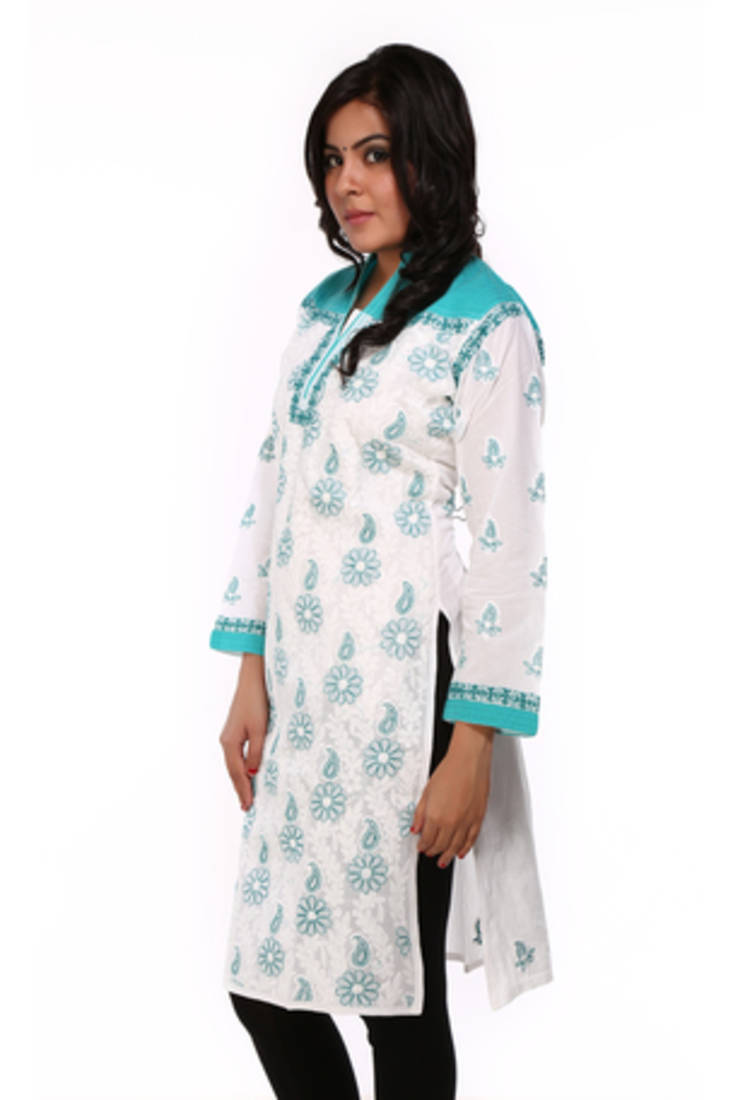 Buy ada hand embroidered large white cotton lucknow