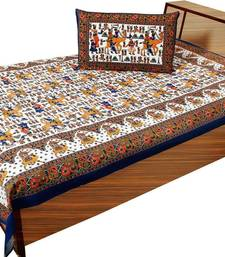 Buy multi color printed cotton bed-sheets bed-sheet online