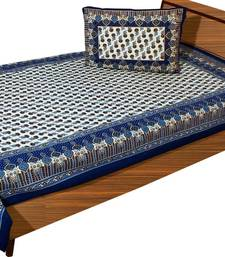 Buy dark blue and cream and sky blue printed cotton bed-sheets bed-sheet online